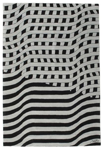 Passages Handtufted - Noir/Gris Tapis 200X300 Moderne Noir/Gris Clair/Bleu Turquoise (Laine, Inde)