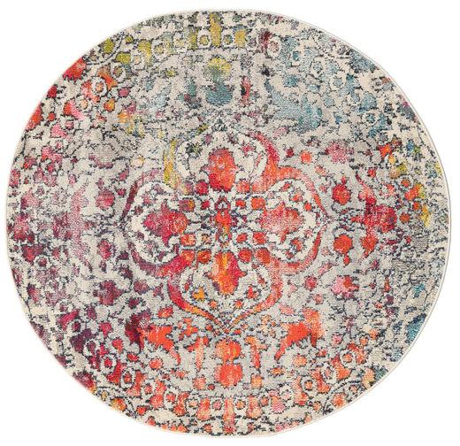 Kaleidoscope - Multi Tapis Ø 150 Moderne Rond Gris Clair/Marron Foncé ( Turquie)