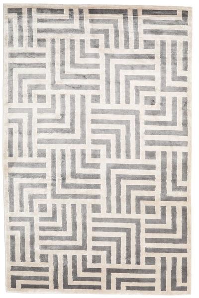 Maze Tapis 200X300 Moderne Fait Main Gris Clair/Blanc/Crème ( Inde)