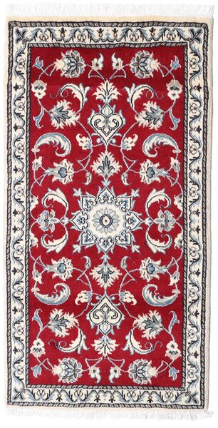 Naïn Tapis 70X135 D'orient Fait Main Gris Clair/Rouge (Laine, Perse/Iran)