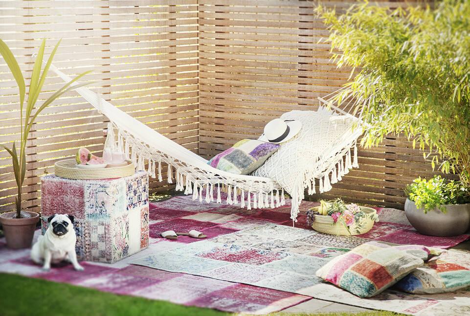 Tapis patchwork - turkiet , rose dans un salon