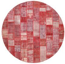 Patchwork Tapis Ø 398 Moderne Fait Main Rond Beige Foncé/Rouille/Rouge Grand (Laine, Turquie)