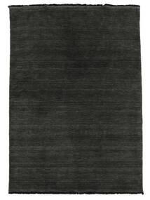 Handloom Fringes - Noir/Gris Tapis 140X200 Moderne Noir (Laine, Inde)