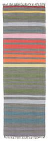 Rainbow Stripe - Gris Tapis 80X250 Moderne Tissé À La Main Tapis Couloir Gris Foncé/Gris Clair (Coton, Inde)