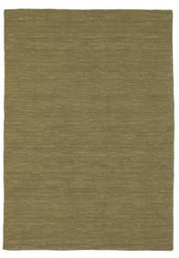 Kilim Loom - Olive Tapis 140X200 Moderne Tissé À La Main Vert Olive (Laine, Inde)