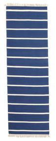 Dhurrie Stripe - Bleu Foncé Tapis 80X250 Moderne Tissé À La Main Tapis Couloir Bleu/Beige (Laine, Inde)