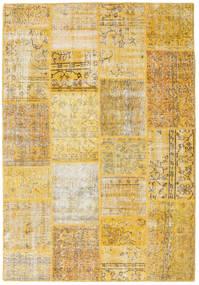 Patchwork Tapis 158X230 Moderne Fait Main Jaune/Marron Clair (Laine, Turquie)