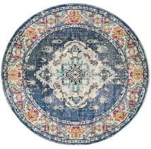 Leia - Bleu Tapis Ø 150 Moderne Rond Gris Foncé/Gris Clair ( Turquie)