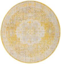 Nadia - Jaune Tapis Ø 200 Moderne Rond Beige Foncé/Beige/Blanc/Crème ( Turquie)