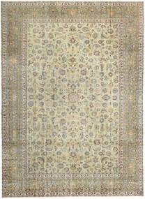Kashan Patina Tapis 293X405 D'orient Fait Main Gris Clair/Beige Foncé/Vert Olive Grand (Laine, Perse/Iran)