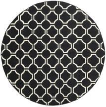 London - Noir/Blanc Écru Tapis Ø 225 Moderne Tissé À La Main Rond Noir (Laine, Inde)