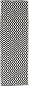 Torun - Noir/Neutral Tapis 80X300 Moderne Tissé À La Main Tapis Couloir Noir/Gris Clair (Coton, Inde)