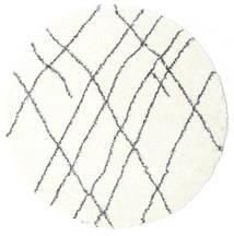 Shaggy Tangier - Blanc/Gris Foncé Tapis Ø 200 Moderne Rond Beige/Blanc/Crème ( Turquie)
