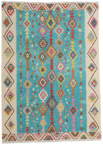 Kilim Afghan Old Style Tapis 203X283 D'orient Tissé À La Main Bleu Turquoise/Beige Foncé (Laine, Afghanistan)