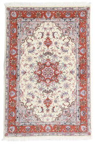 Tabriz 60 Raj Chaîne De Soie Tapis 101X153 D'orient Fait Main Beige/Gris Clair (Laine/Soie, Perse/Iran)