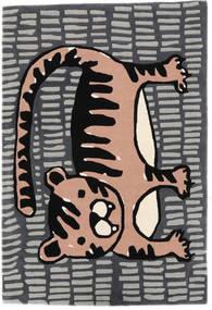 Cool Cat - Gris/Rose Tapis 120X180 Moderne Gris Foncé/Gris Clair (Laine, Inde)