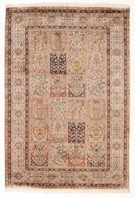 Cachemire Pure Soie Tapis 127X189 D'orient Fait Main Beige/Rouge Foncé (Soie, Inde)