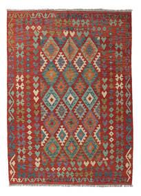 Kilim Afghan Old Style Tapis 177X242 D'orient Tissé À La Main Rouge Foncé/Gris Foncé (Laine, Afghanistan)