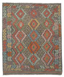 Kilim Afghan Old Style Tapis 162X193 D'orient Tissé À La Main Vert Foncé/Marron Foncé (Laine, Afghanistan)